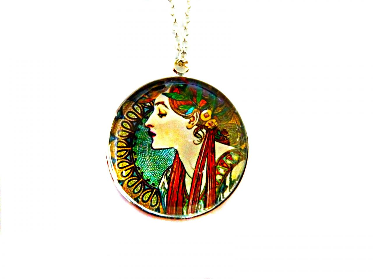 Art Nouveau Vintage Lady Helena Necklace made with a glass cabochon and Tibetan Silver bezel, handmade