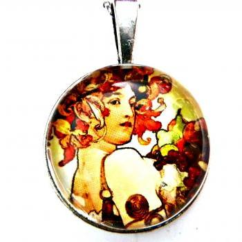Art Nouveau Vintage Lady Ada Necklace made with a glass cabochon and Tibetan Silver bezel, handmade