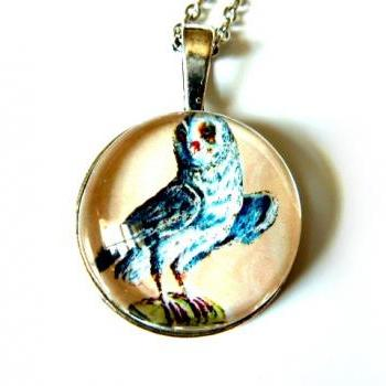 Wise Owl Necklace - Glass cabochon necklace - handmade