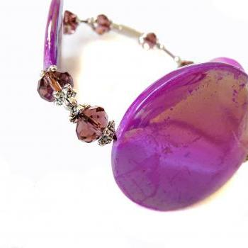 Sprayed shell bracelet peacock collection purple